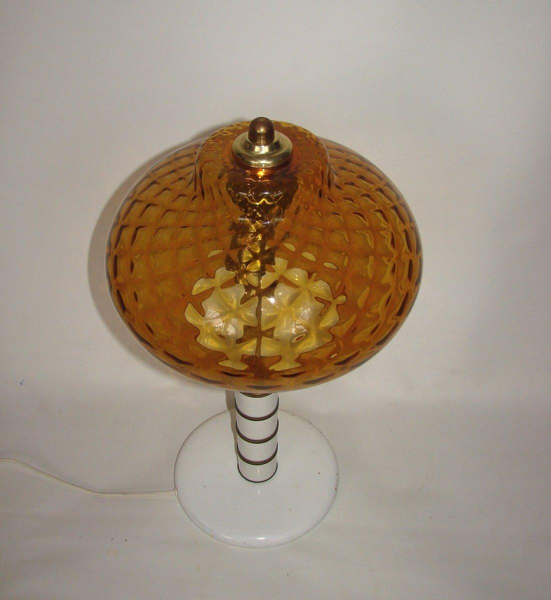 vintage bernstein glas tisch lampe 1970er bei pamono kaufen. Black Bedroom Furniture Sets. Home Design Ideas