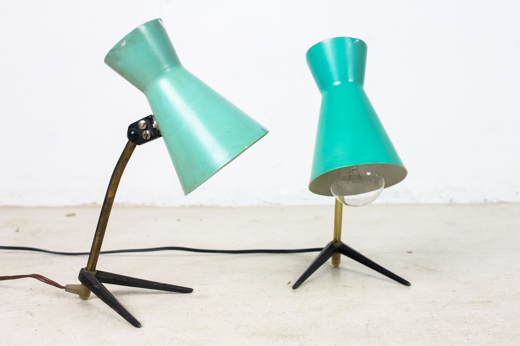 Green & Black Table Lamps on Bird Legs, 1950s, Set of 2 for sale ...
