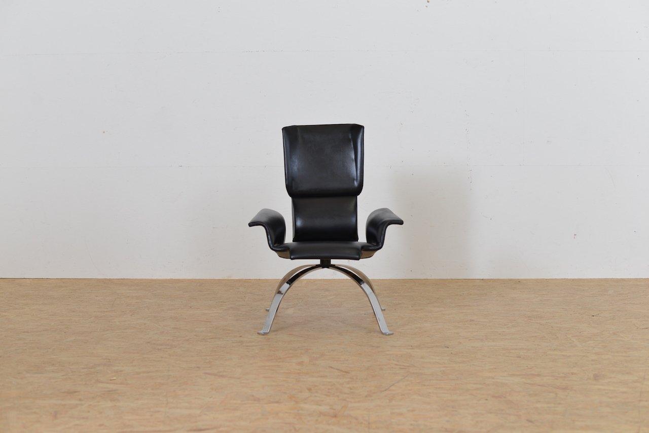 fauteuil mid century en cuir noir italie en vente sur pamono. Black Bedroom Furniture Sets. Home Design Ideas
