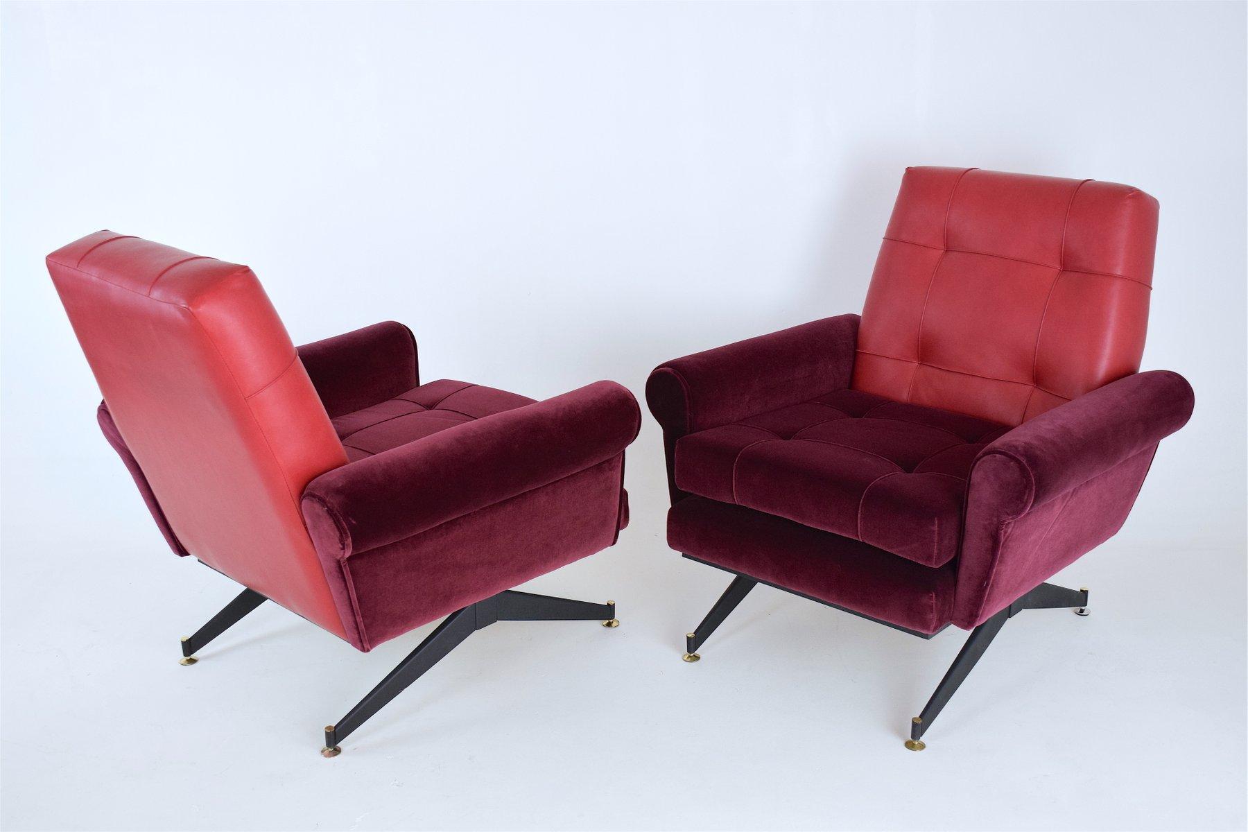 italienische rote mid century sessel aus samt leder 1950er 2er set bei pamono kaufen. Black Bedroom Furniture Sets. Home Design Ideas