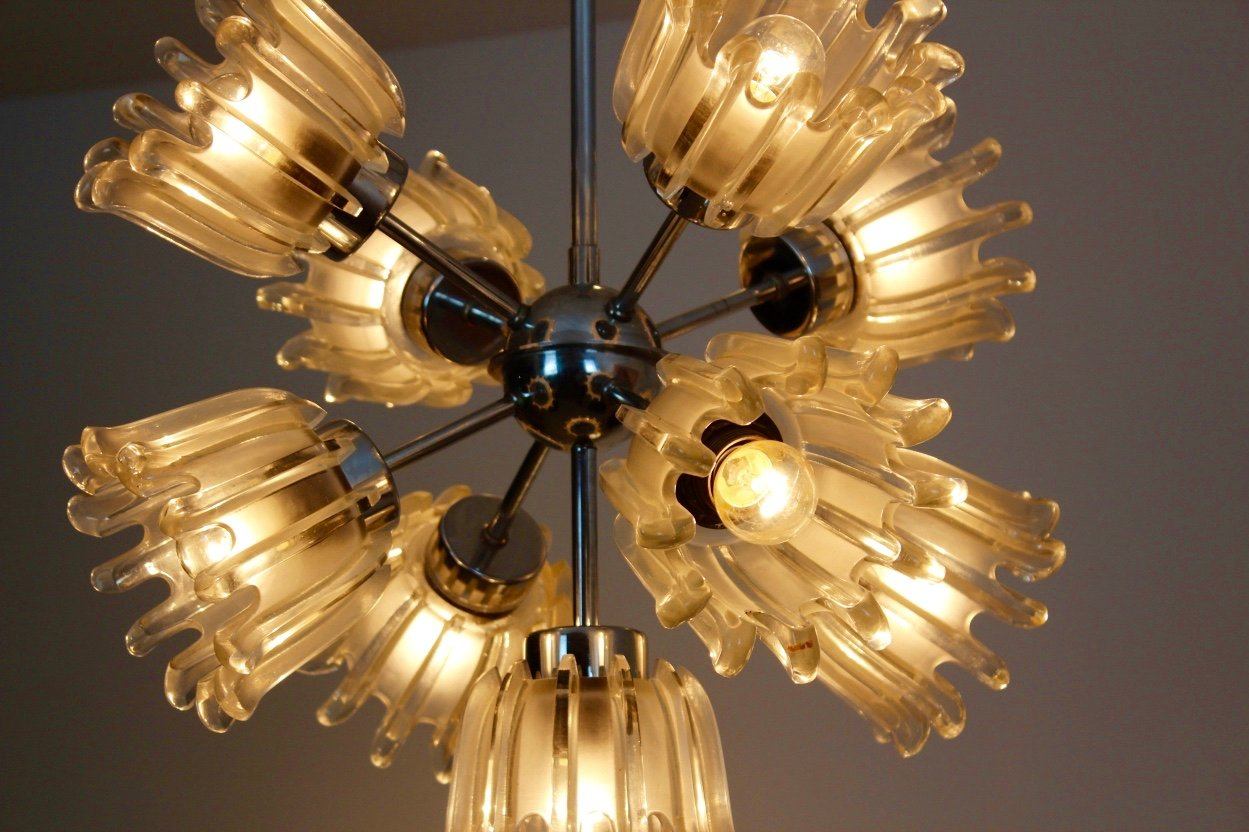 Mid century chrome and frosted tulip glass chandelier by doria for previous arubaitofo Image collections