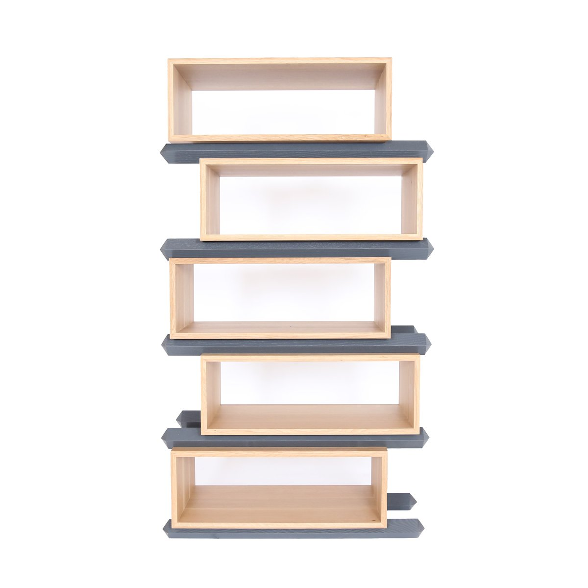 Stack storage five tier wood staggered open shelves from for Open shelves design