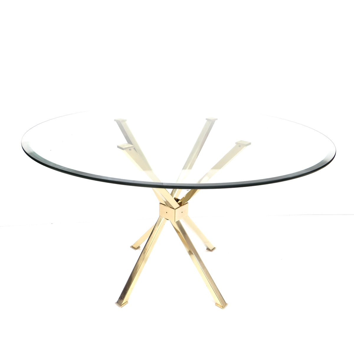 hollywood regency glass and brass round dining table for sale at