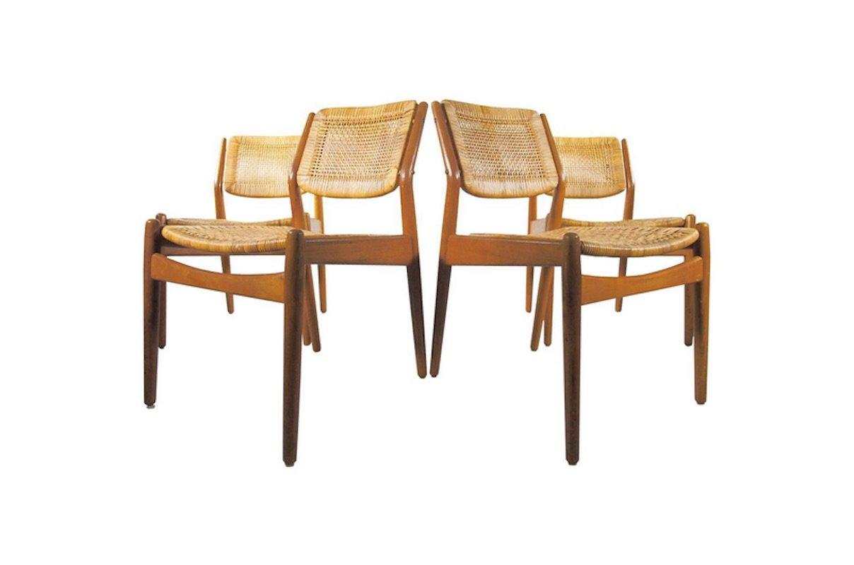 Vintage Rattan Dining Chairs By Arne Vodder U0026 Anton Borg For Sibast, Set Of  4