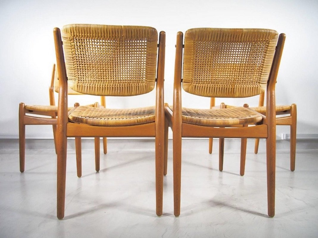 vintage rattan dining chairs by arne vodder anton borg for sibast set of 4 for sale at pamono. Black Bedroom Furniture Sets. Home Design Ideas