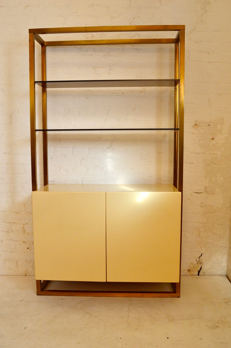 French Brass, Lacquer, Wood and Glass Cabinet, 1970s for sale at ...