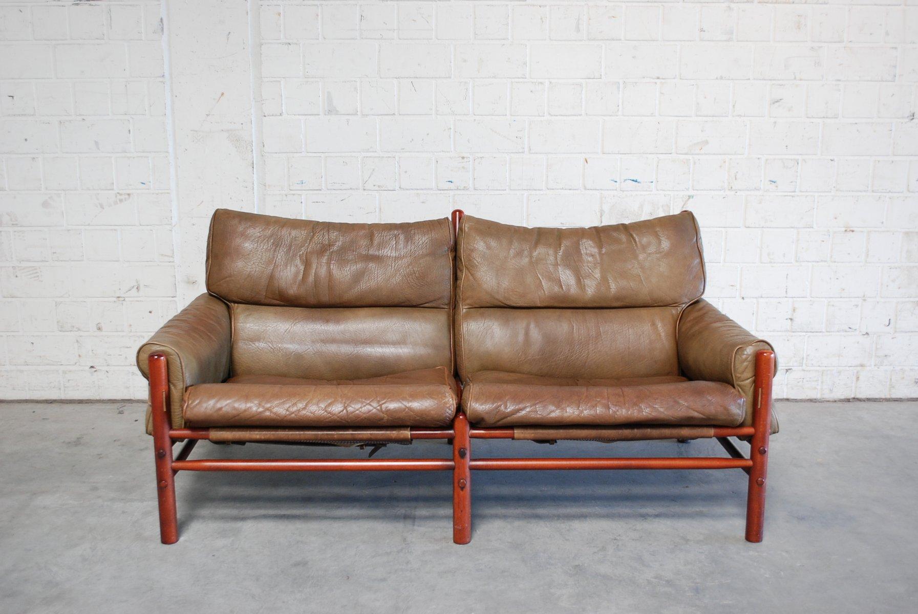 vintage kontiki 2 sitzer ledersofa von arne norell bei pamono kaufen. Black Bedroom Furniture Sets. Home Design Ideas