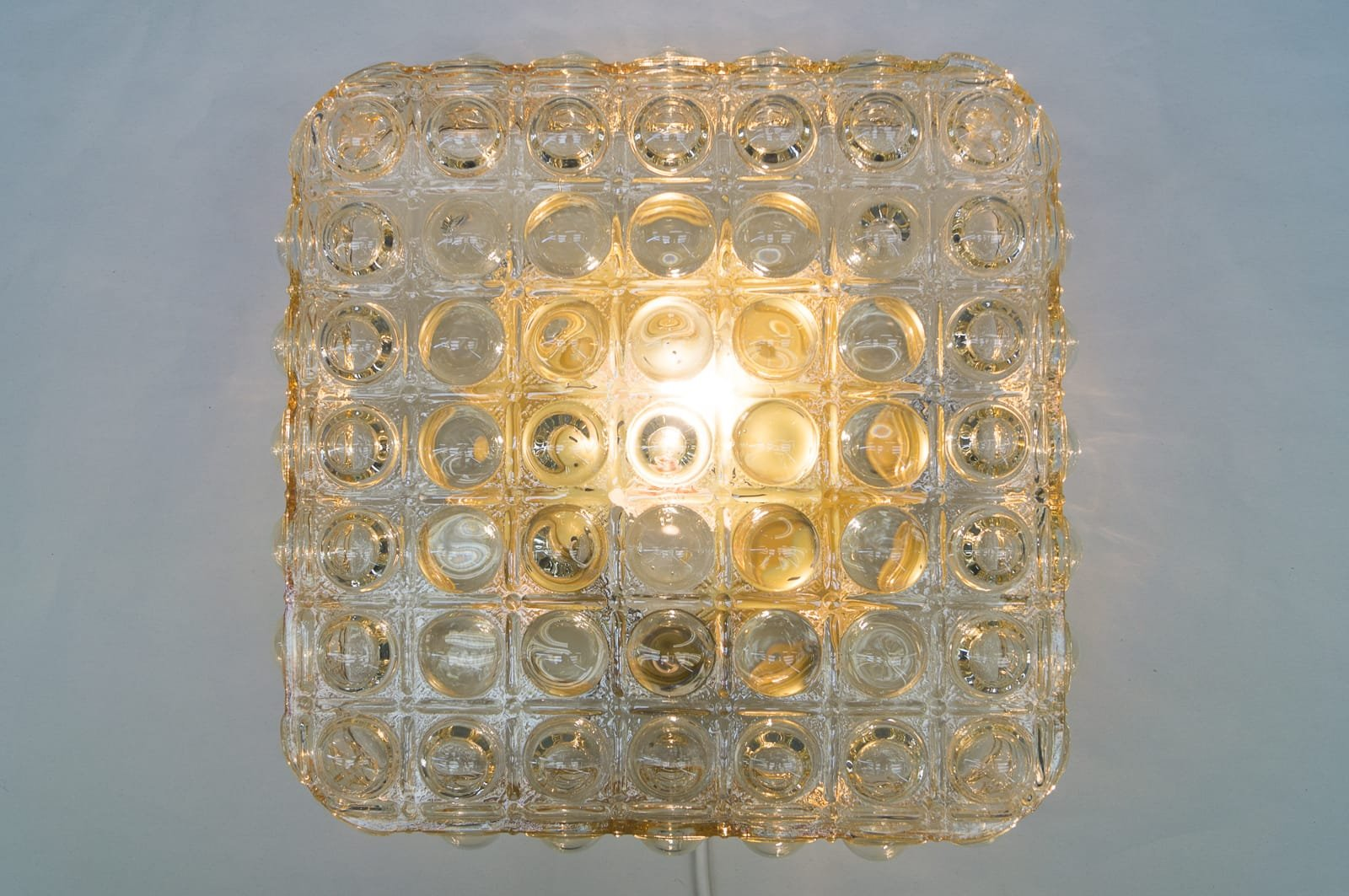 Large glass wall light with bubble structure 1960s for for Large glass wall