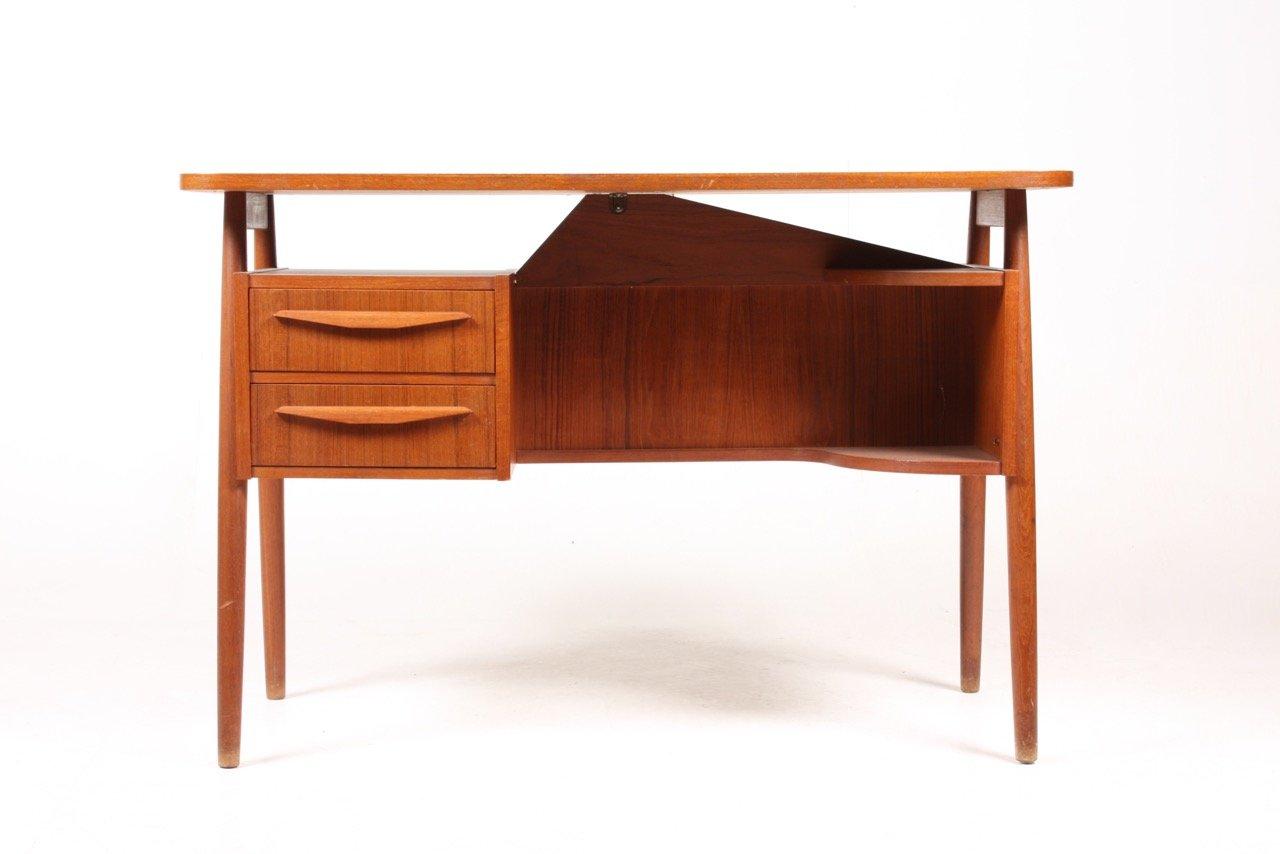 freistehender d nischer mid century teak schreibtisch. Black Bedroom Furniture Sets. Home Design Ideas