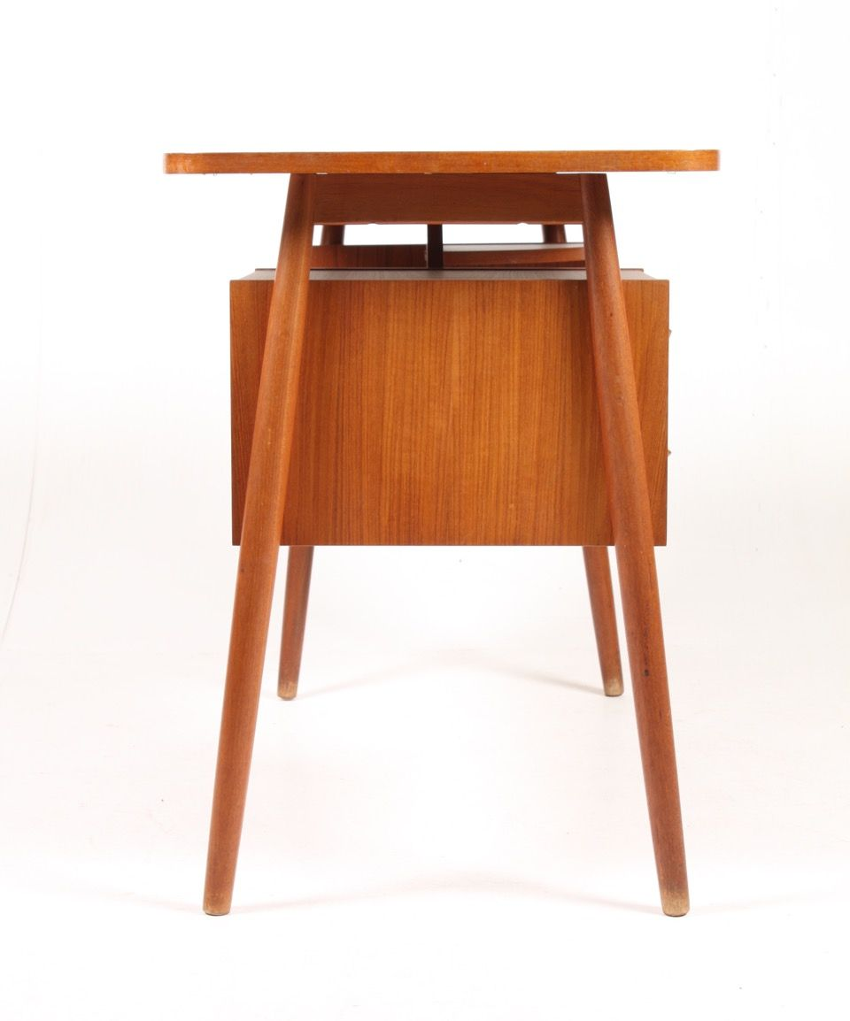 Mid Century Danish Free Standing Teak Desk 1950s For Sale