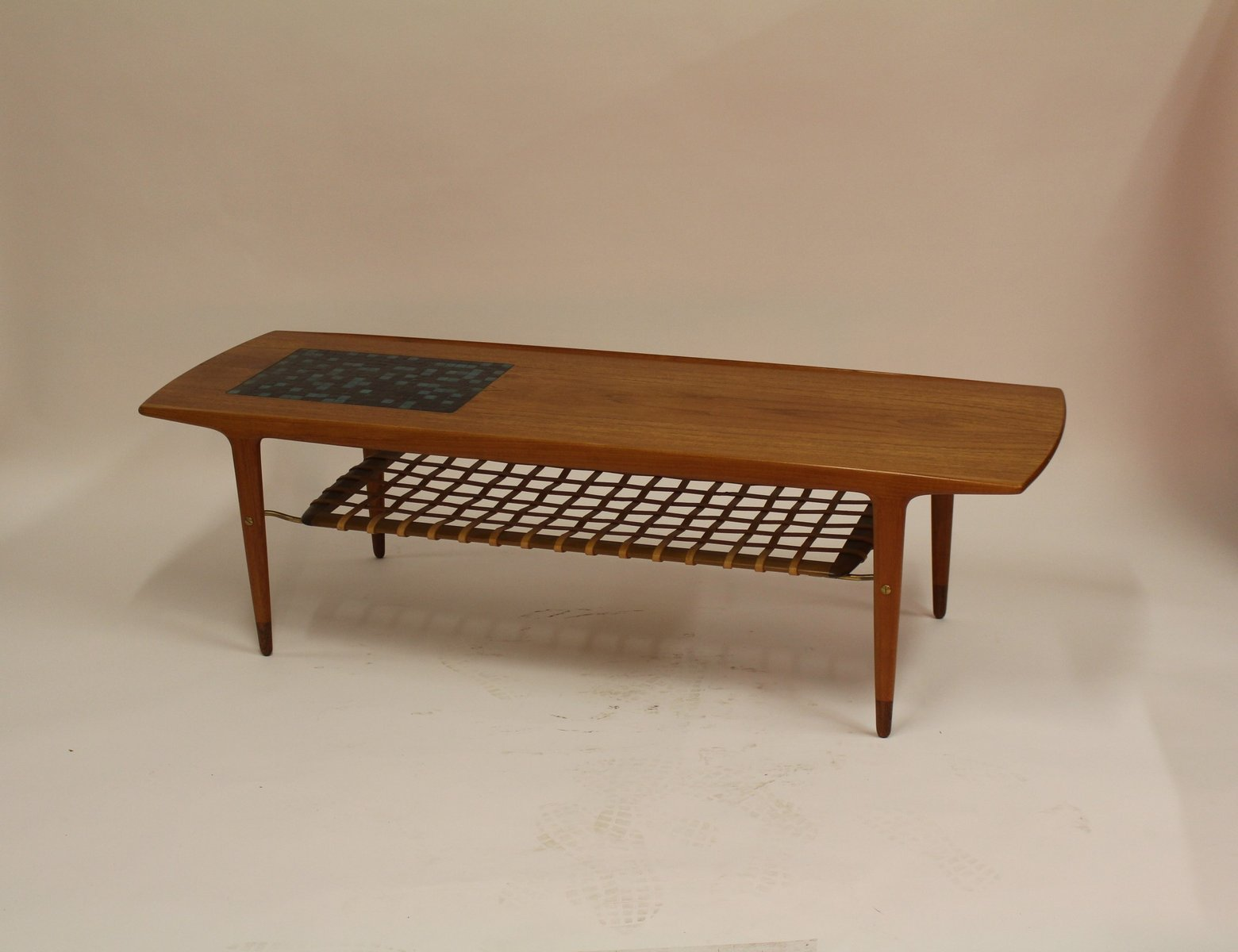 vintage danish teak coffee table with ceramic tiles and leather magazine rack for sale at pamono. Black Bedroom Furniture Sets. Home Design Ideas