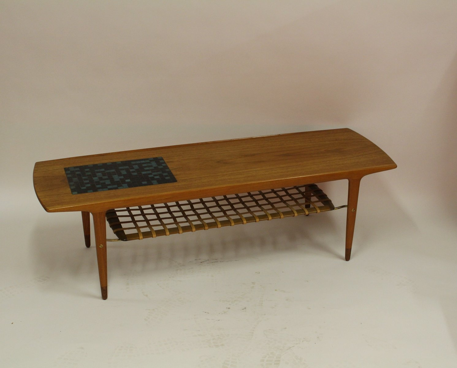 Vintage Danish Teak Coffee Table With Ceramic Tiles And Leather Magazine Rack For Sale At Pamono