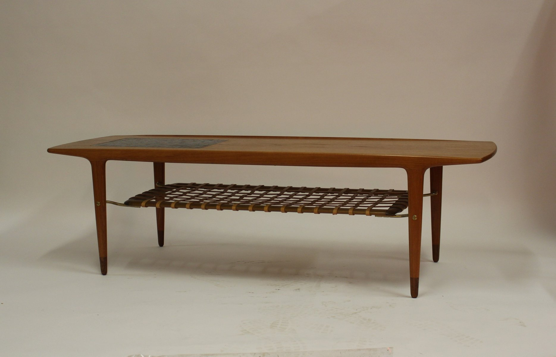 Vintage Danish Teak Coffee Table with Ceramic Tiles and Leather