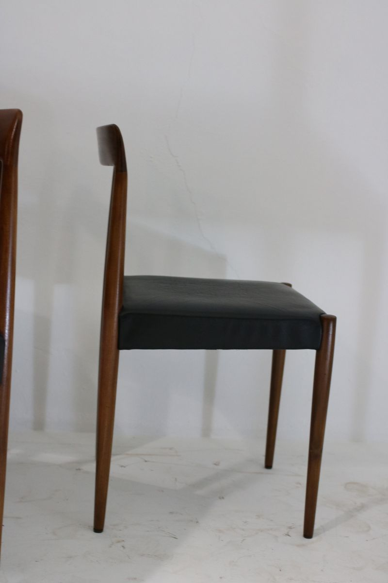Black leather teak dining chairs from l bke 1960s set for Black leather dining chairs