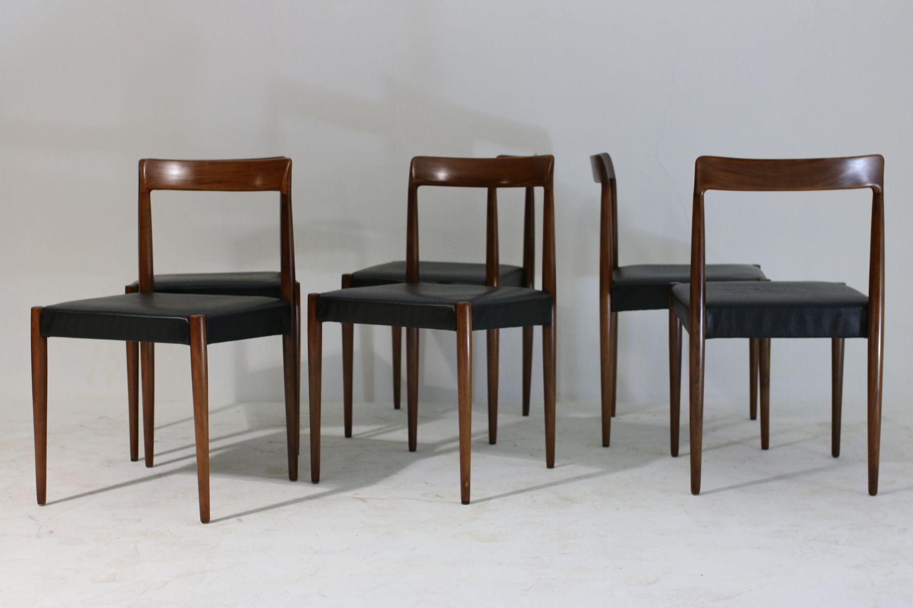 schwarze leder teak esszimmerst hle von l bke 1960er. Black Bedroom Furniture Sets. Home Design Ideas