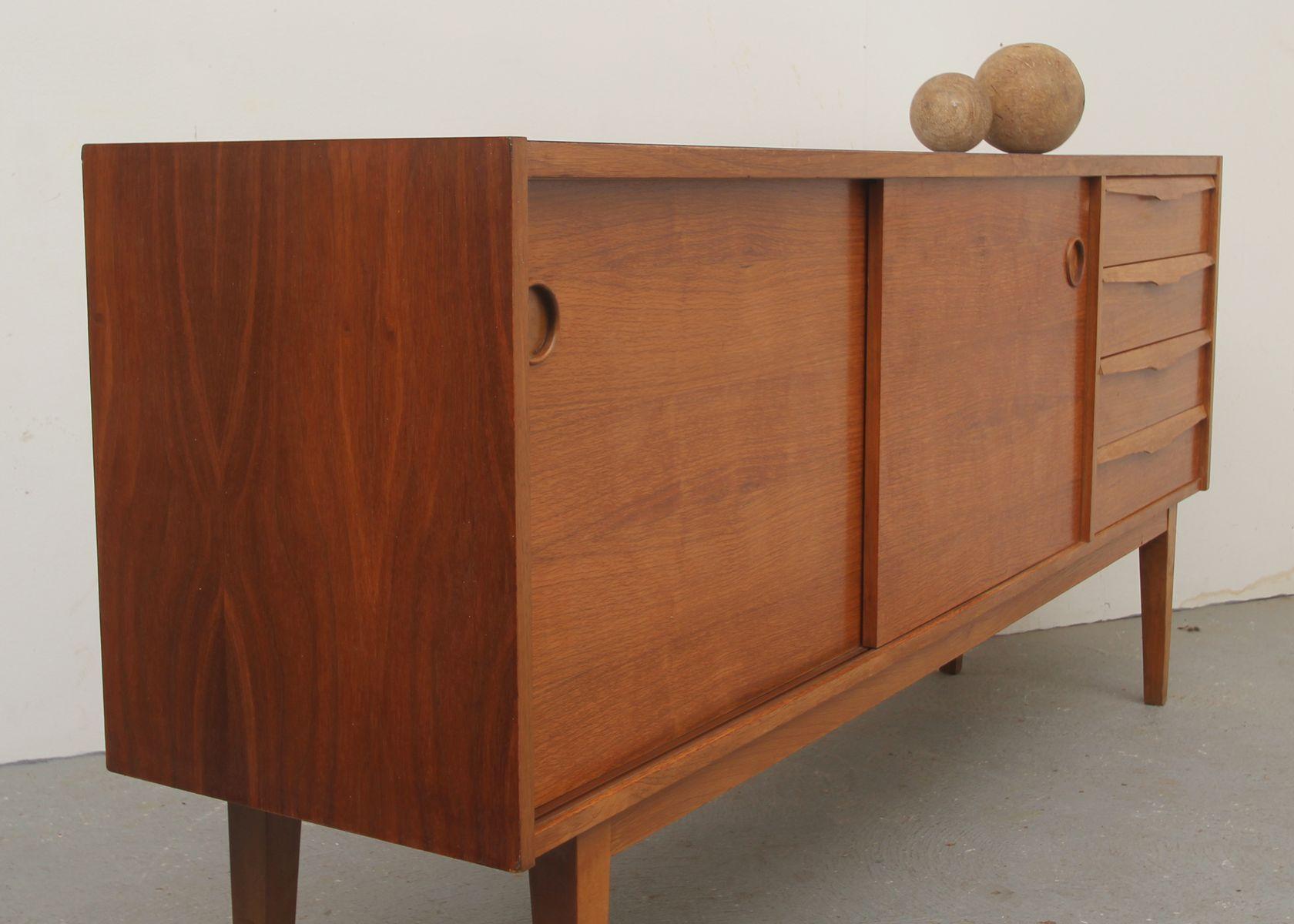 enfilade en teck et stratifi avec portes coulissantes 1950s en vente sur pamono. Black Bedroom Furniture Sets. Home Design Ideas