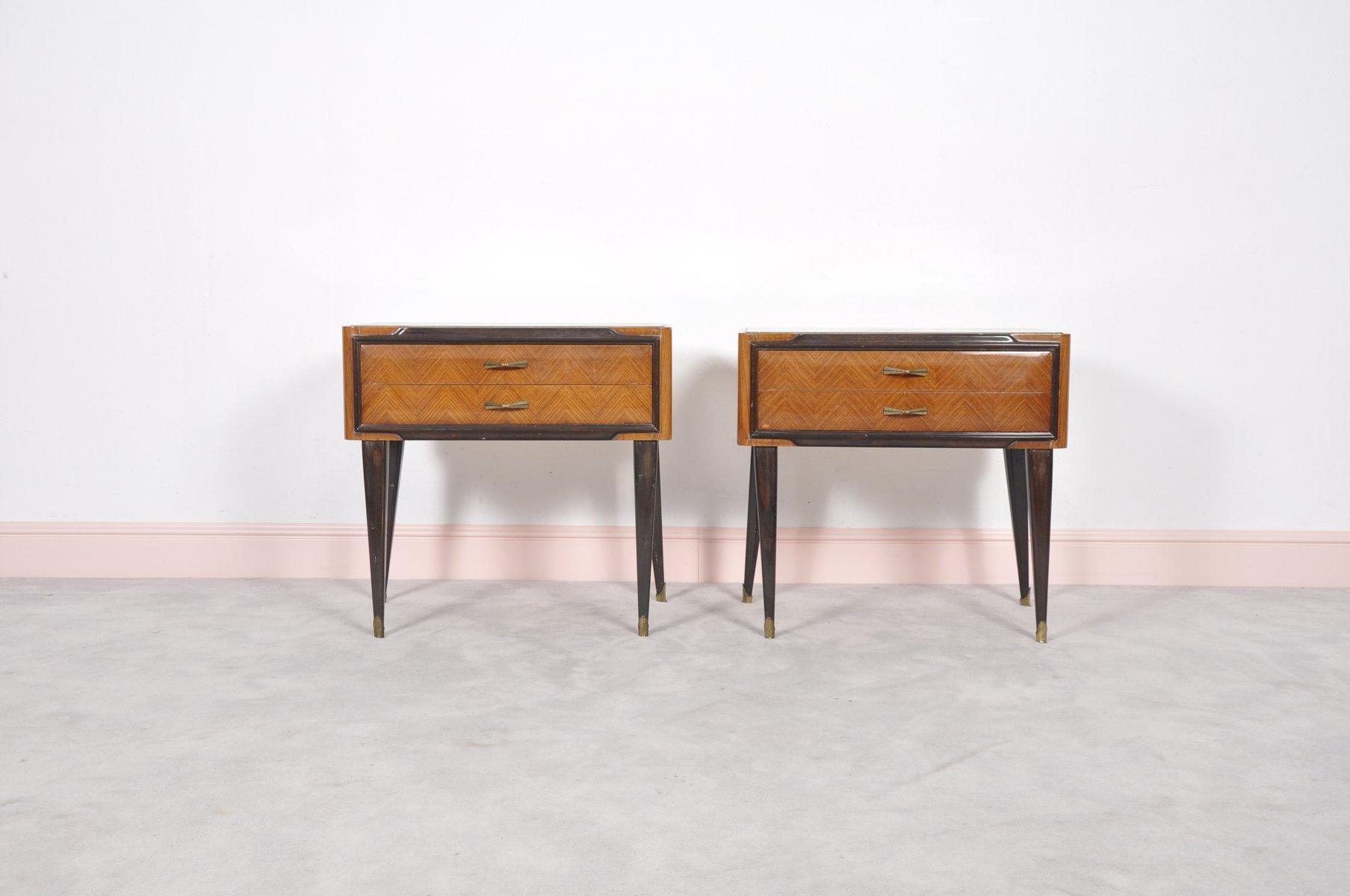 tables de chevet murano mid century en laiton verre et palissandre italie - Table De Chevet En Verre