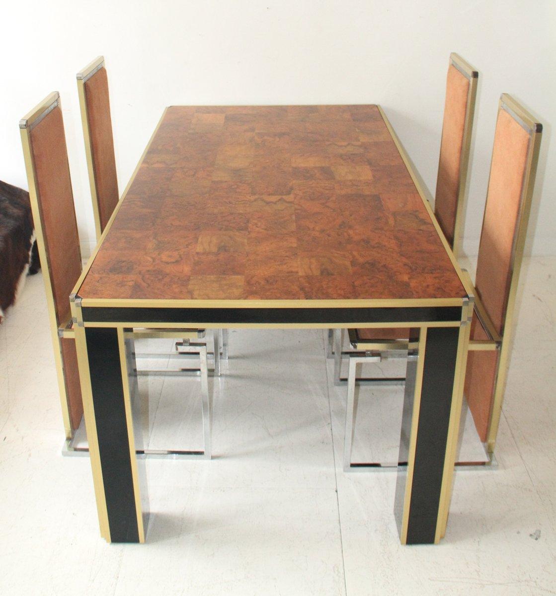 Table de salle manger vintage en noyer vernis par willy rizzo italie - Salle a manger en solde ...