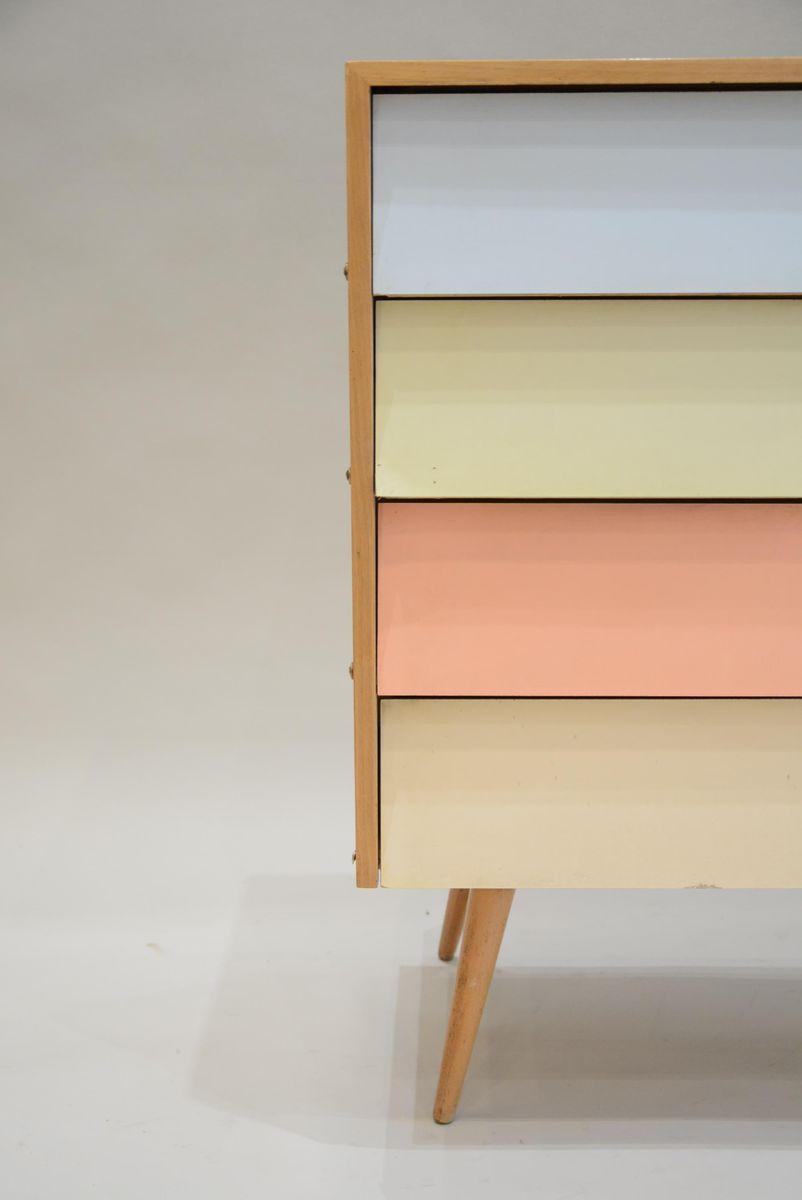 Meuble chaussures avec tiroirs multicolores 1960s en - Meuble a chaussure avec tiroir ...