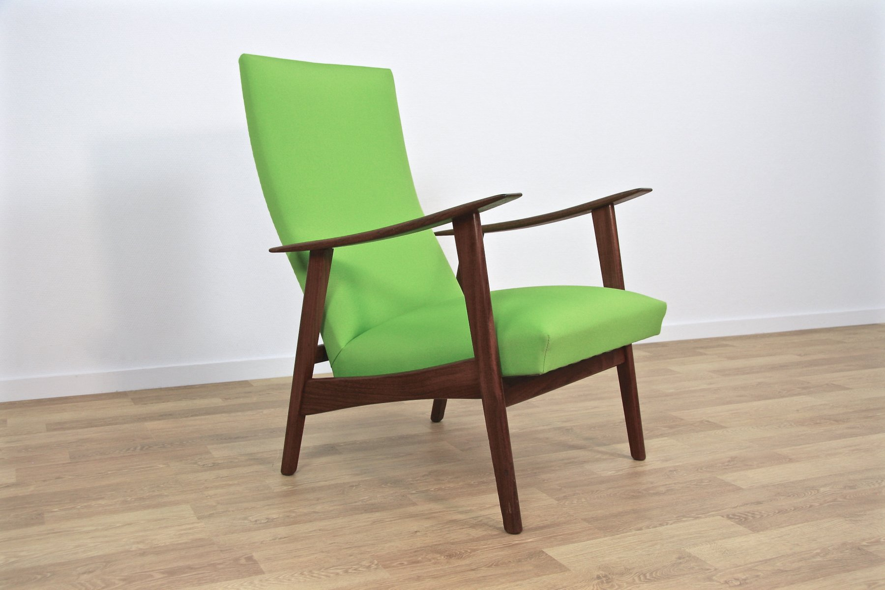 Mid Century Danish Lounge Chair in Teak & Green Fabric 1960s for