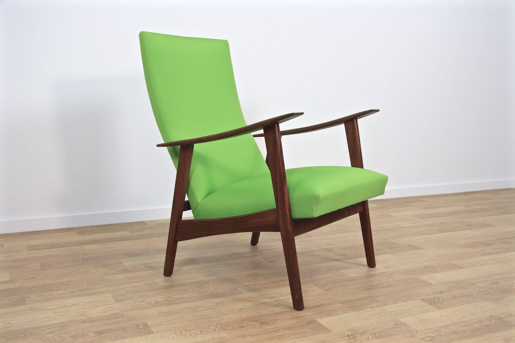 mid century danish lounge chair in teak green fabric