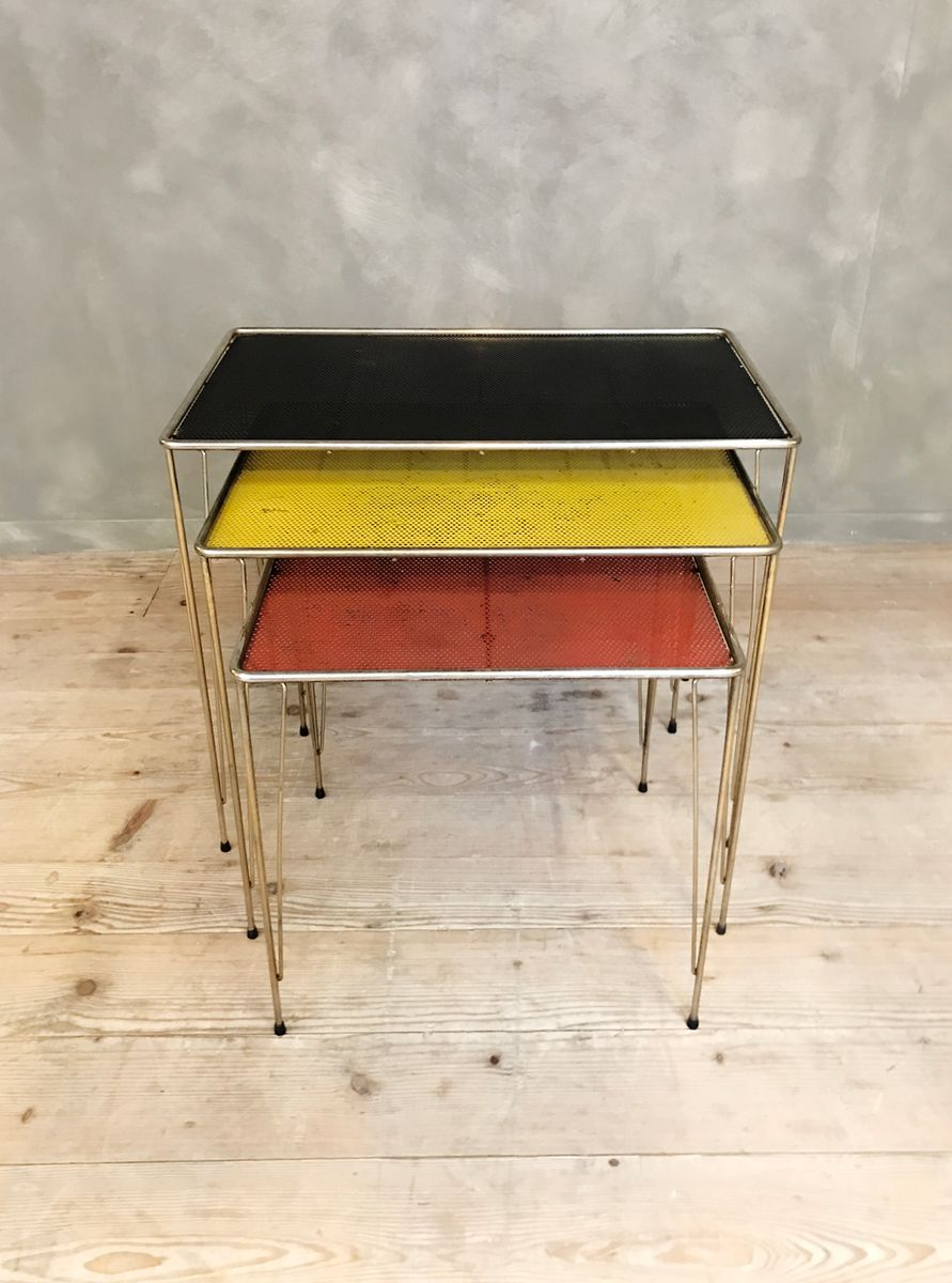 . vintage perforated metal nesting tables for sale at pamono