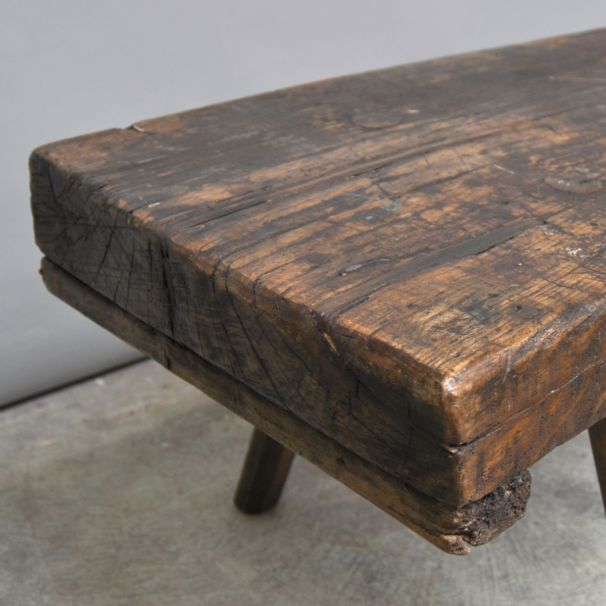 hungarian butcher's block oak coffee table, 1920s for sale at pamono