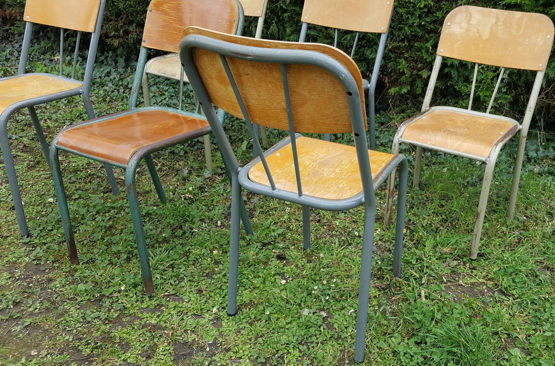 chaises d 39 cole vintage en bois et m tal set de 6 en vente sur pamono. Black Bedroom Furniture Sets. Home Design Ideas