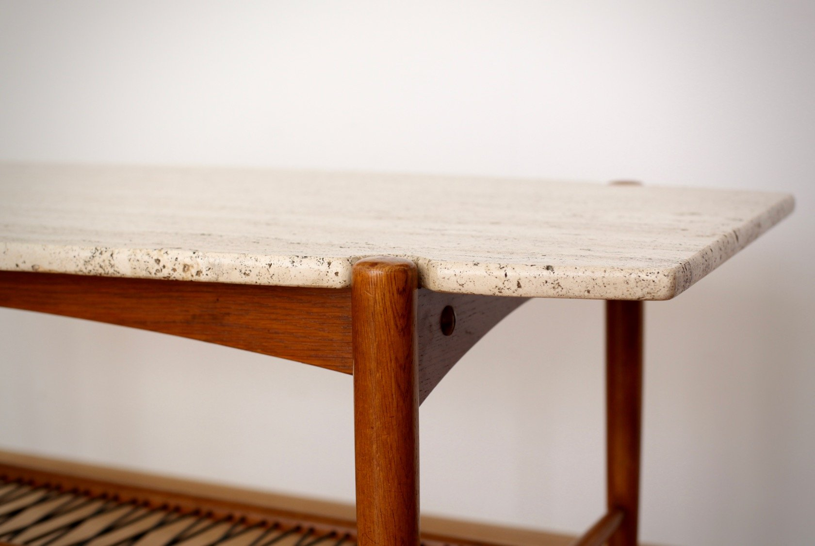 Surfboard Shaped Coffee Table With Travertine Top, 1950s