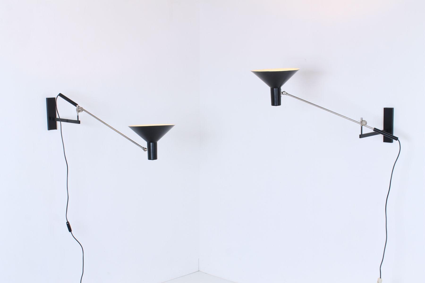 Vintage Adjustable Black 7105 Counterbalance Wall Lights by J.J.M. Hoogervorst for Anvia, Set of ...