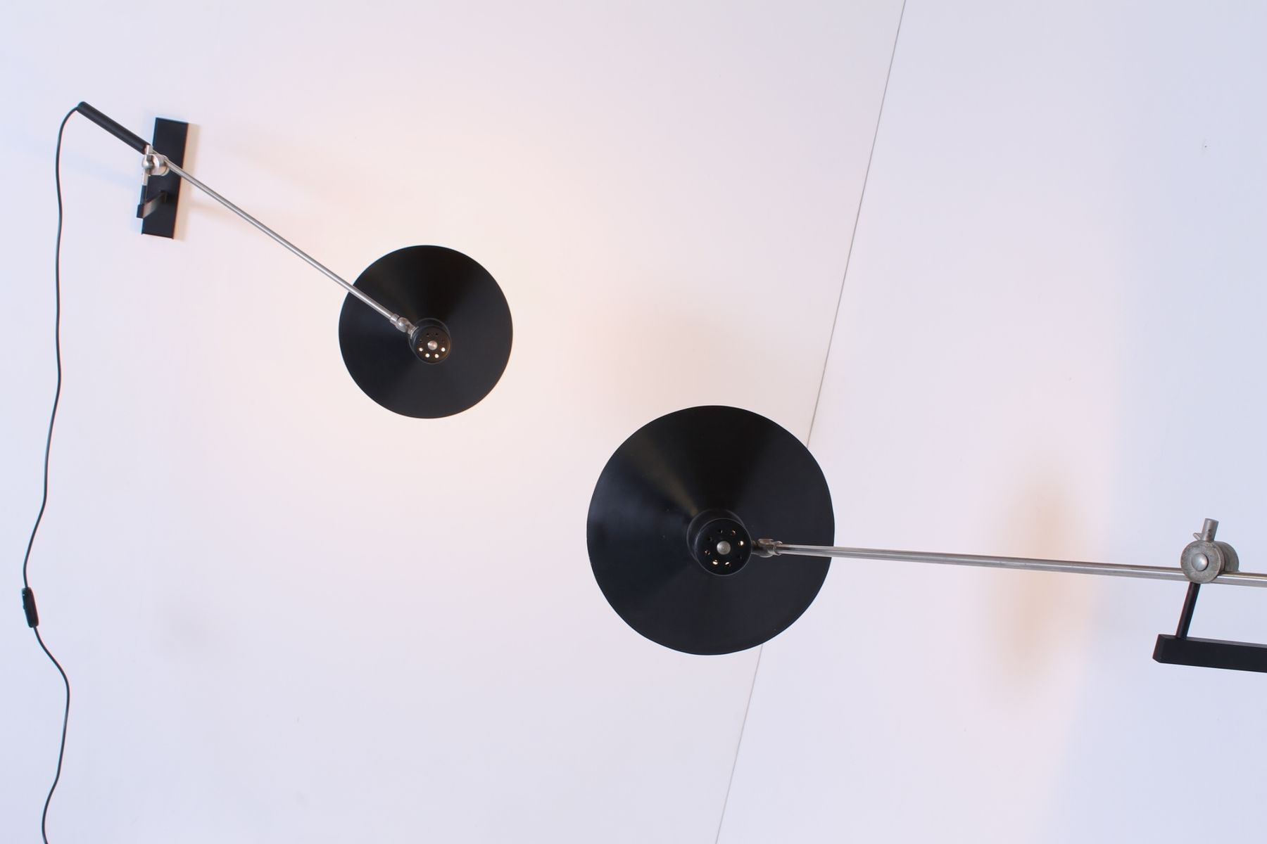 Vintage Adjustable Black 7105 Counterbalance Wall Lights by J.J.M. Hoogervorst for Anvia, Set of ...