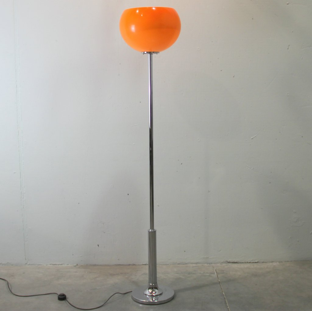 Orange floor lamp - Vintage Orange Tulip Floor Lamp By Harvey Guzzini For Guzzini