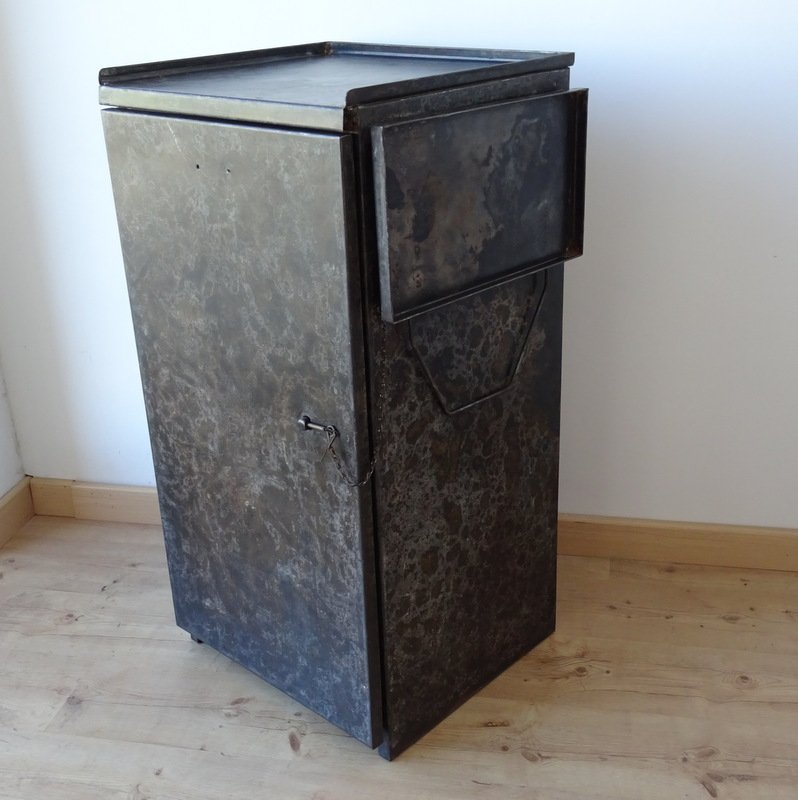 Damaged Kitchen Cabinets For Sale: Industrial Vintage Metal Factory Cabinet With Side Shelf