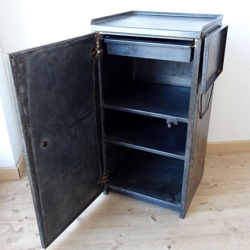 industrial vintage metal factory cabinet with side shelf for sale at pamono. Black Bedroom Furniture Sets. Home Design Ideas