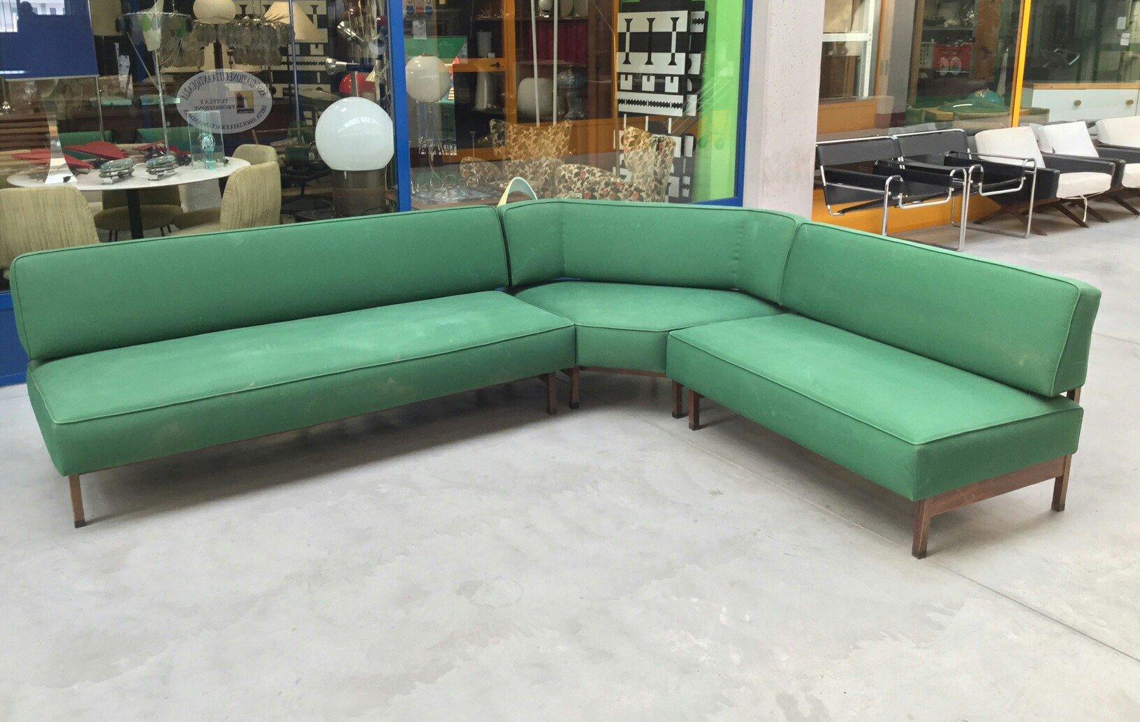 Mid Century Italian Green Modular Corner Sofa 1960s For