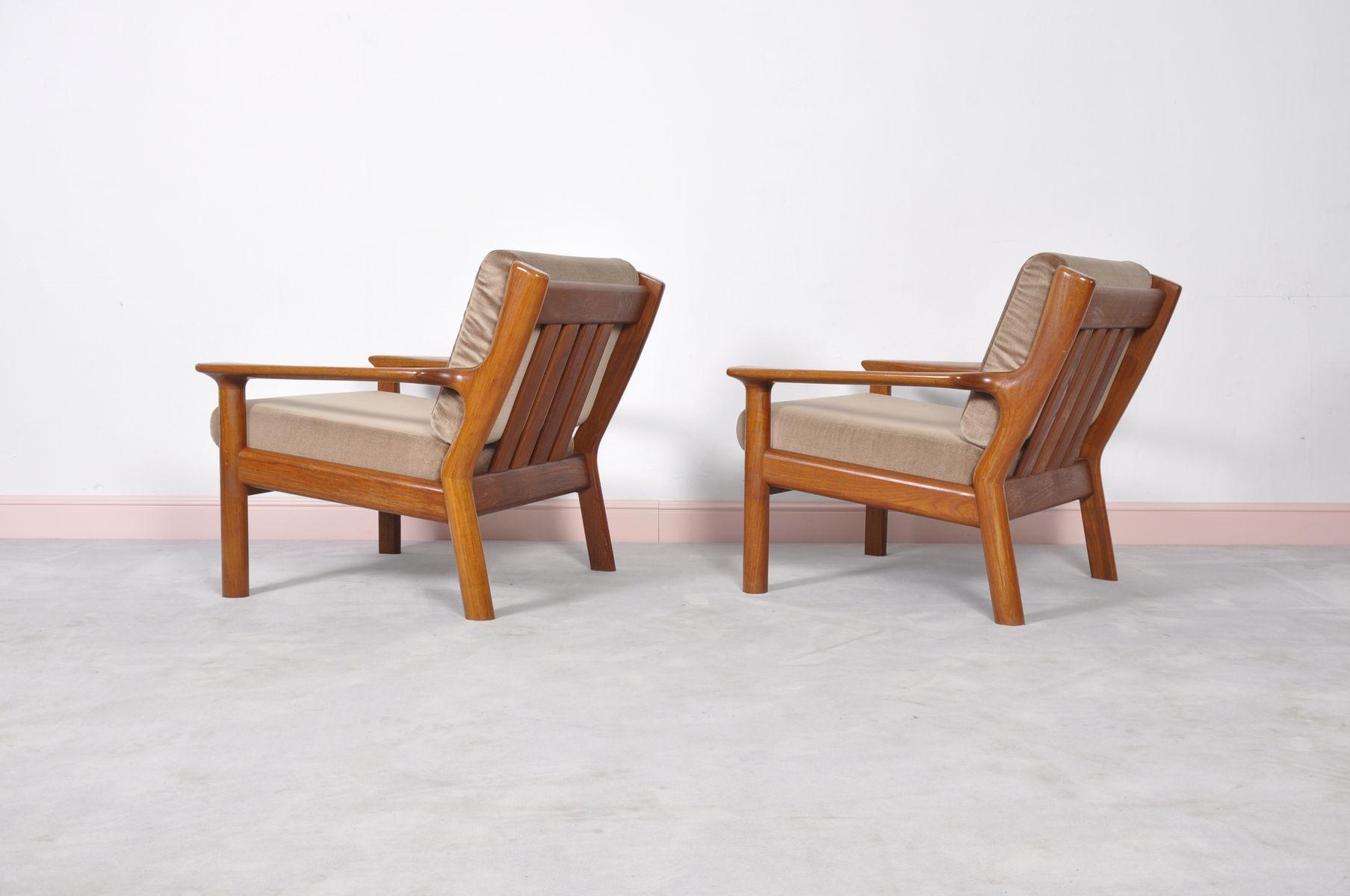 skandinavische vintage teak sessel von juul kristensen f r glostrup 1960er 2er set bei pamono. Black Bedroom Furniture Sets. Home Design Ideas