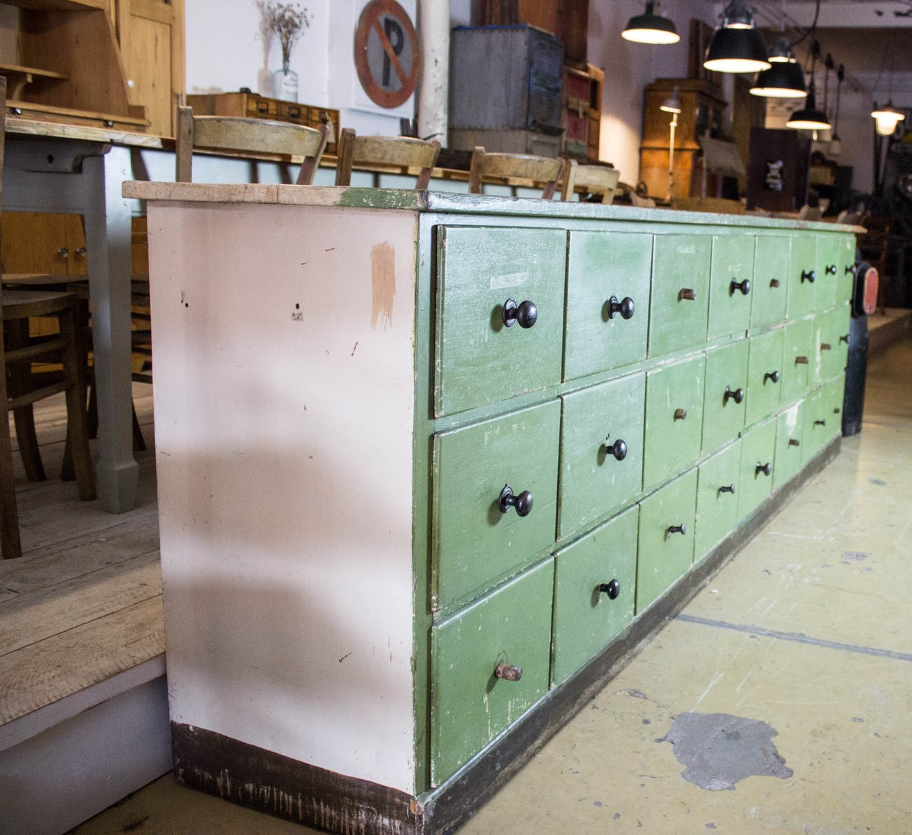 Antique Green Drawer Cabinet For Sale At Pamono