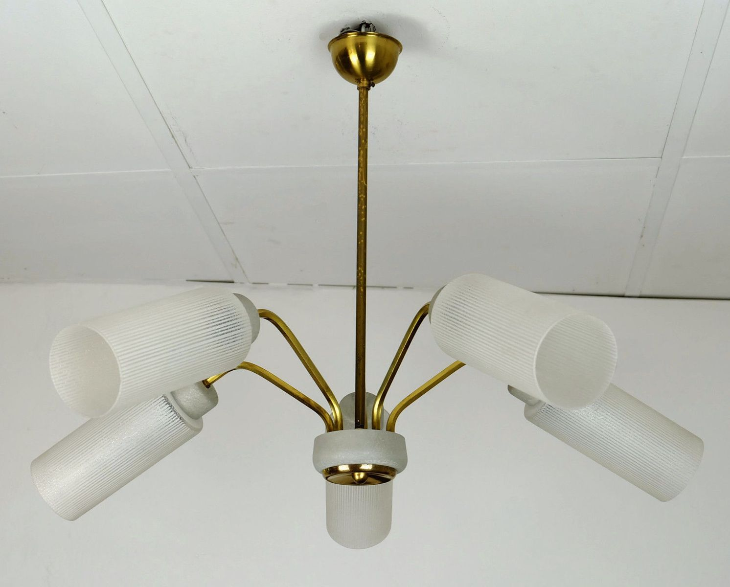 Spider Ceiling Lamp In Brass And Glass 1950s For Sale At