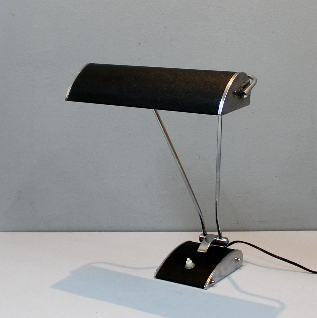 Vintage Chrome Plated Metal Table Lamp by Eileen Gray for Jumo for