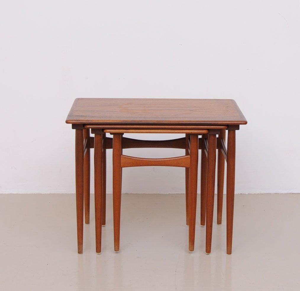 Vintage Danish Nesting Tables In Brown Teak