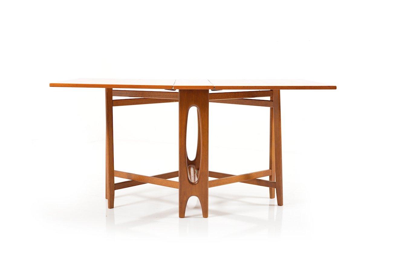 Vintage drop leaf teak dining table by bendt winge for for Antique drop leaf dining table