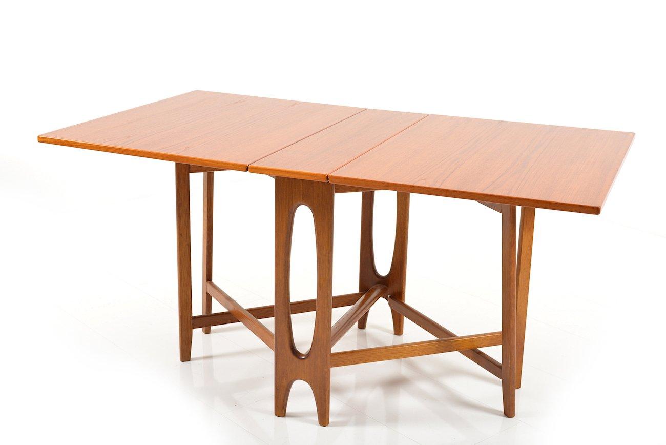 Vintage Drop Leaf Teak Dining Table By Bendt Winge For Kleppes Møbelfabrikk