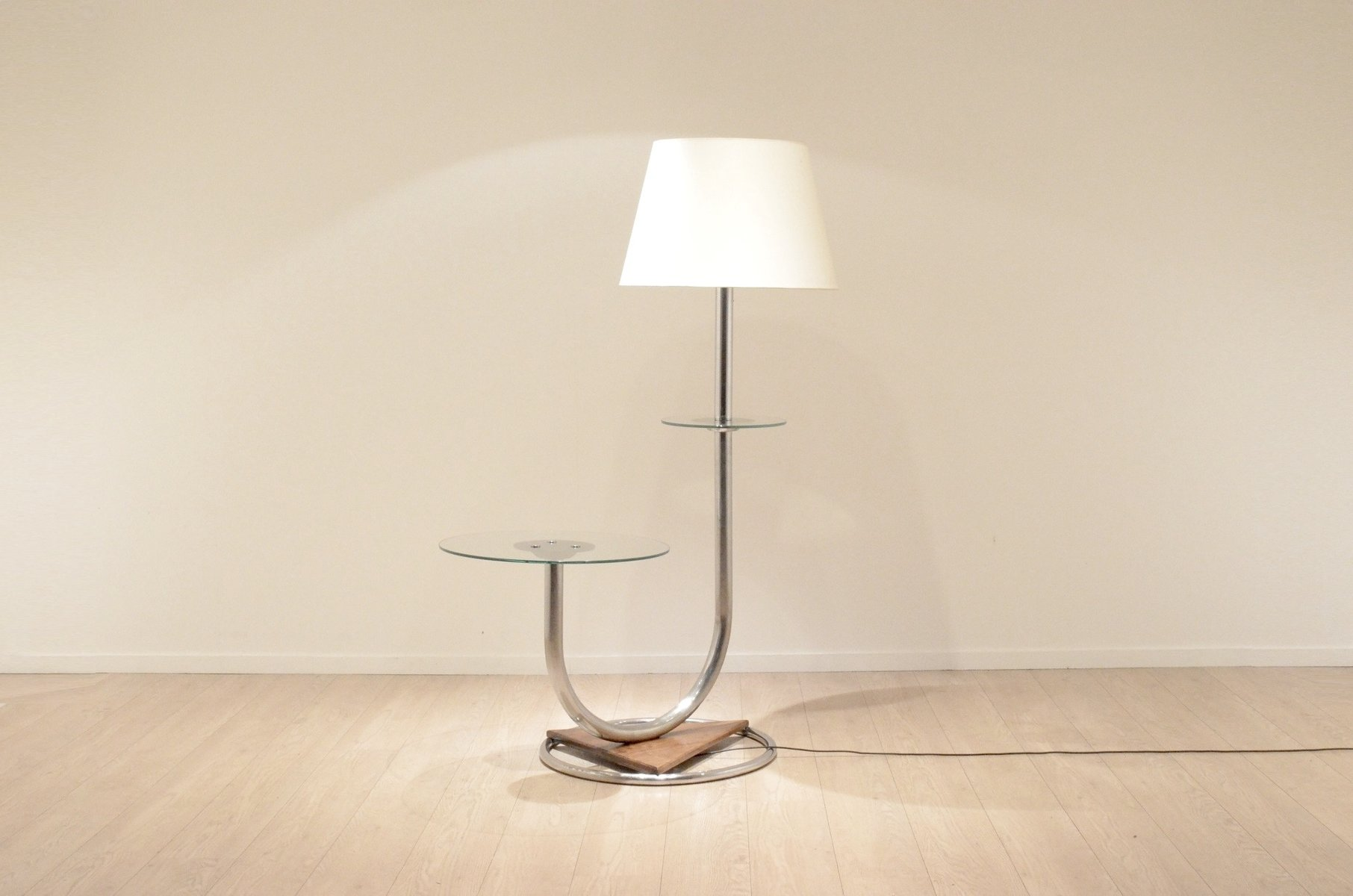 Large Art Deco Chromium & Walnut Floor Lamp with Side Table for ...