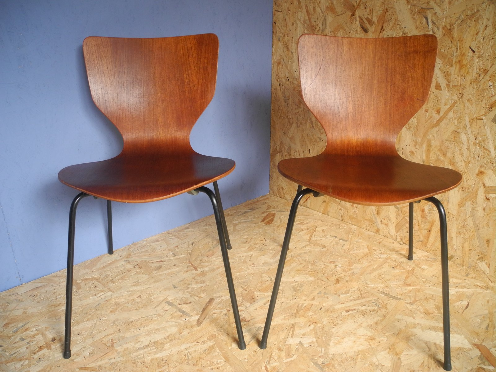 Mid Century Danish Teak Stacking Chair for sale at Pamono
