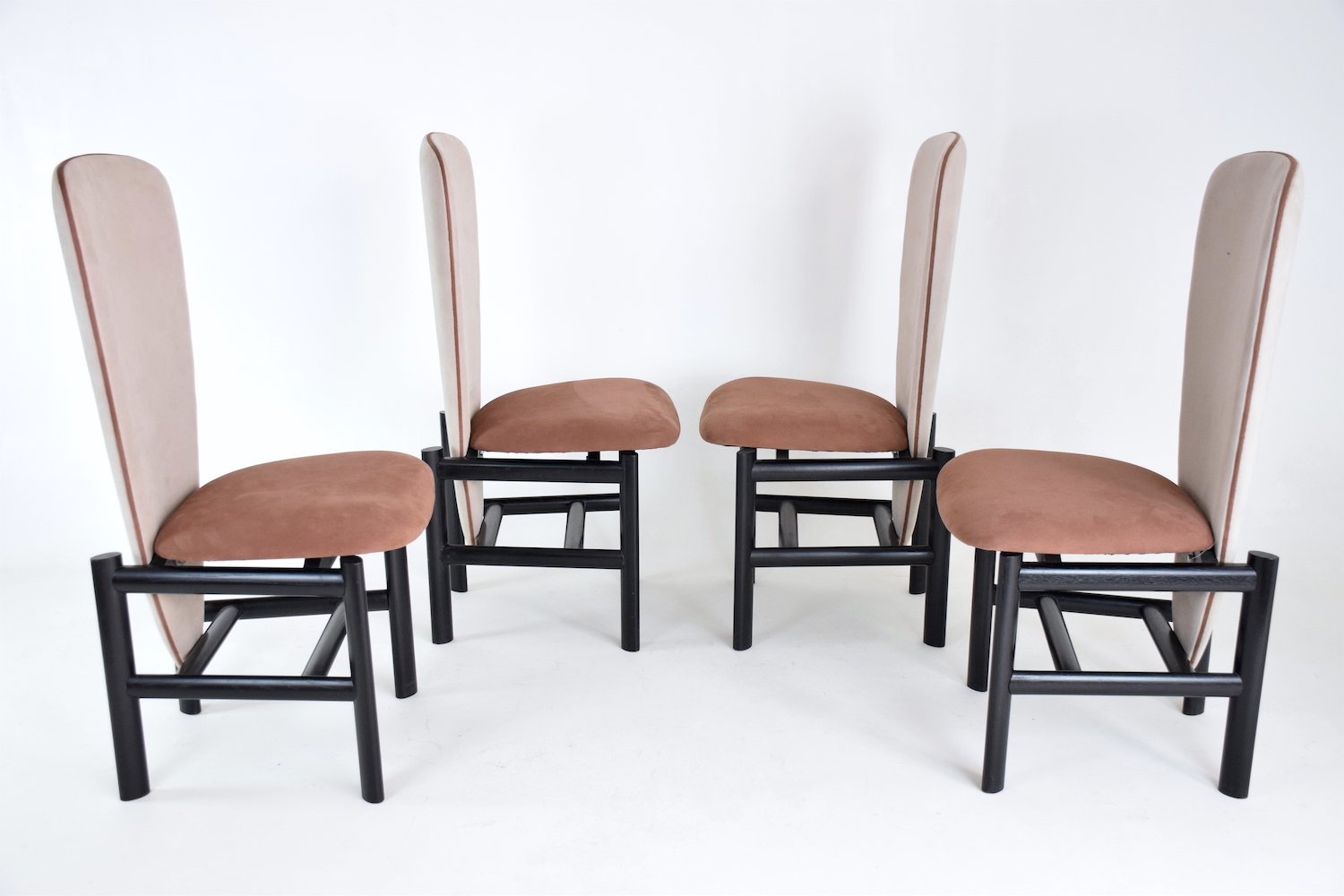 mid century dutch high back oak dining chairs set of 4