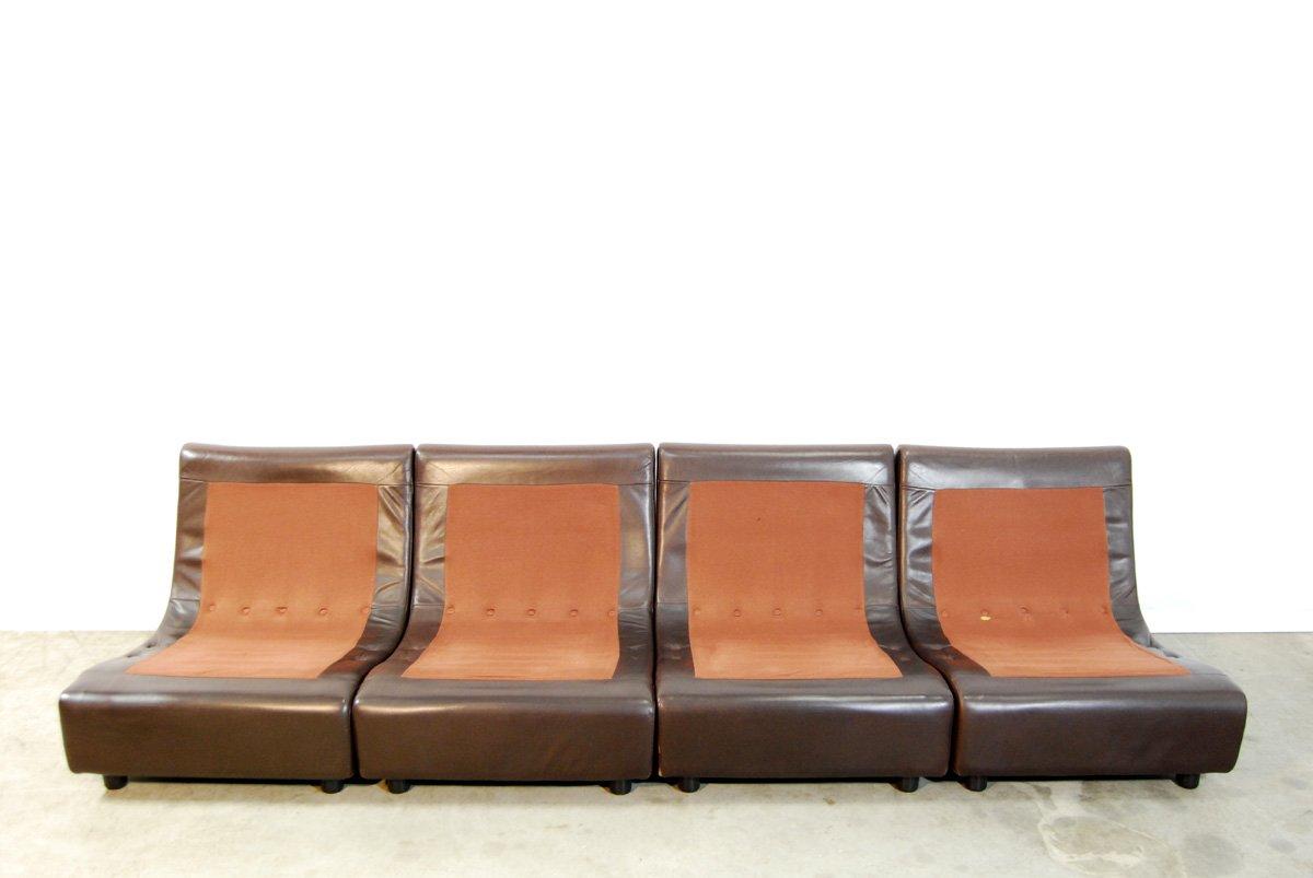 Set de canap en cuir marron 1970s en vente sur pamono - Canape en cuir marron ...