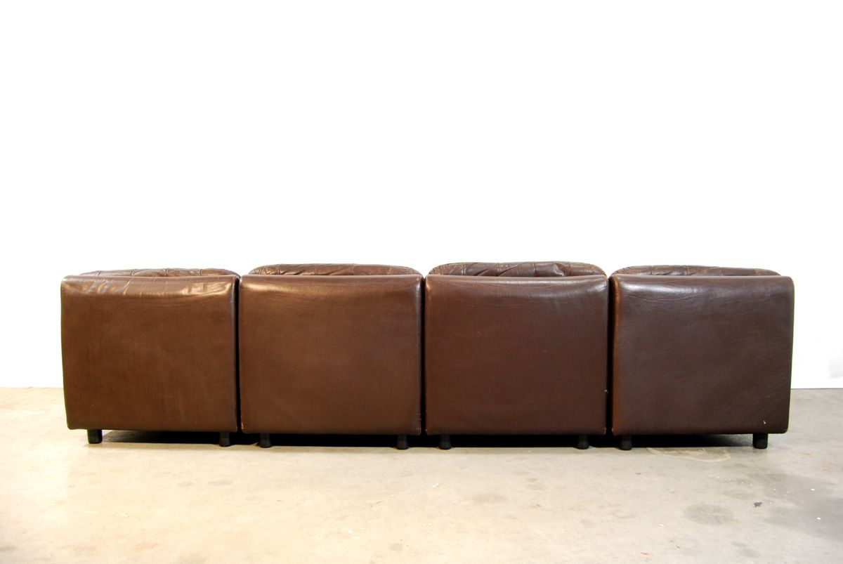 Dutch Brown Leather Sofa Set 1970s For Sale At Pamono