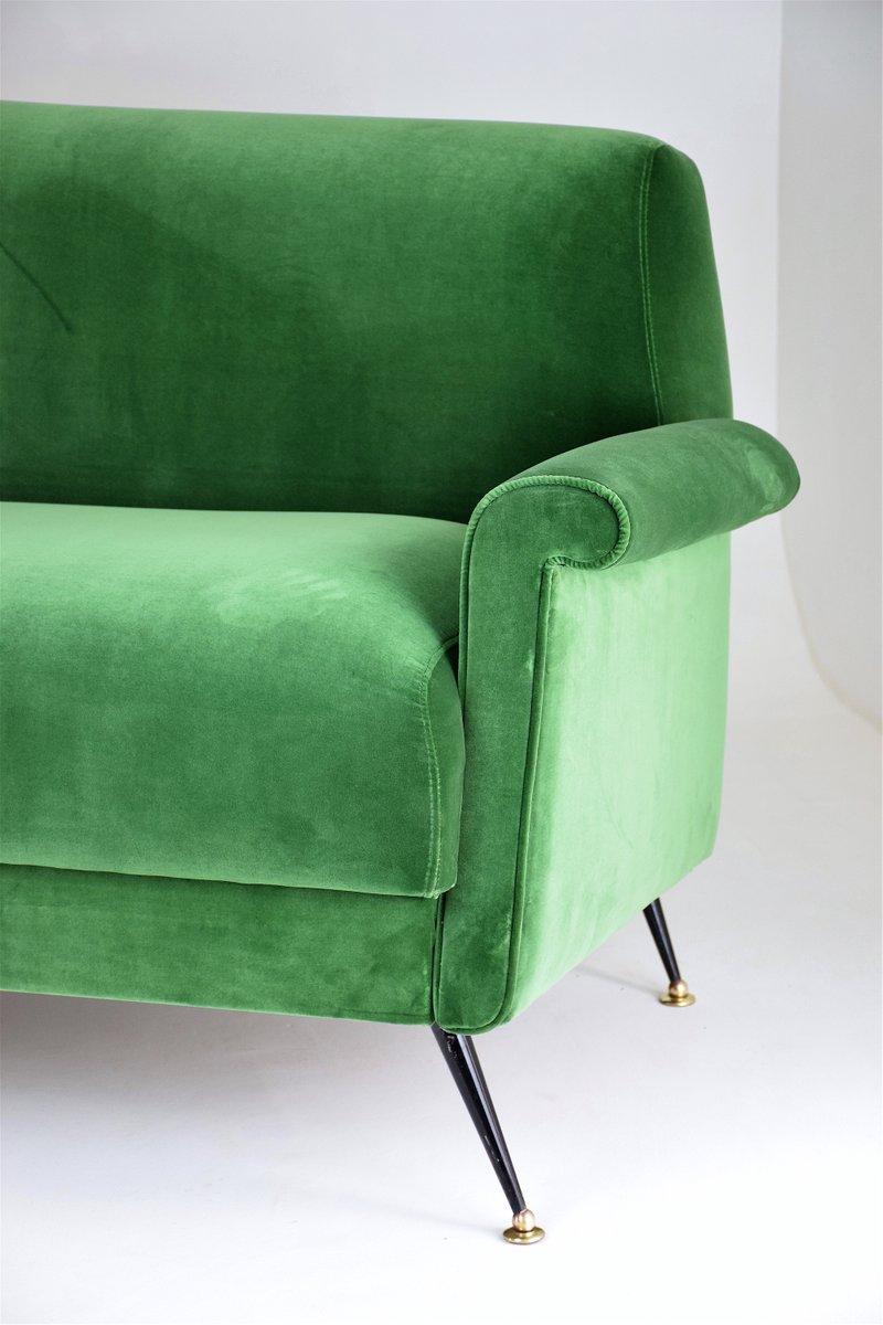 Canap mid century en velours vert italie en vente sur pamono - Canape velours vert ...