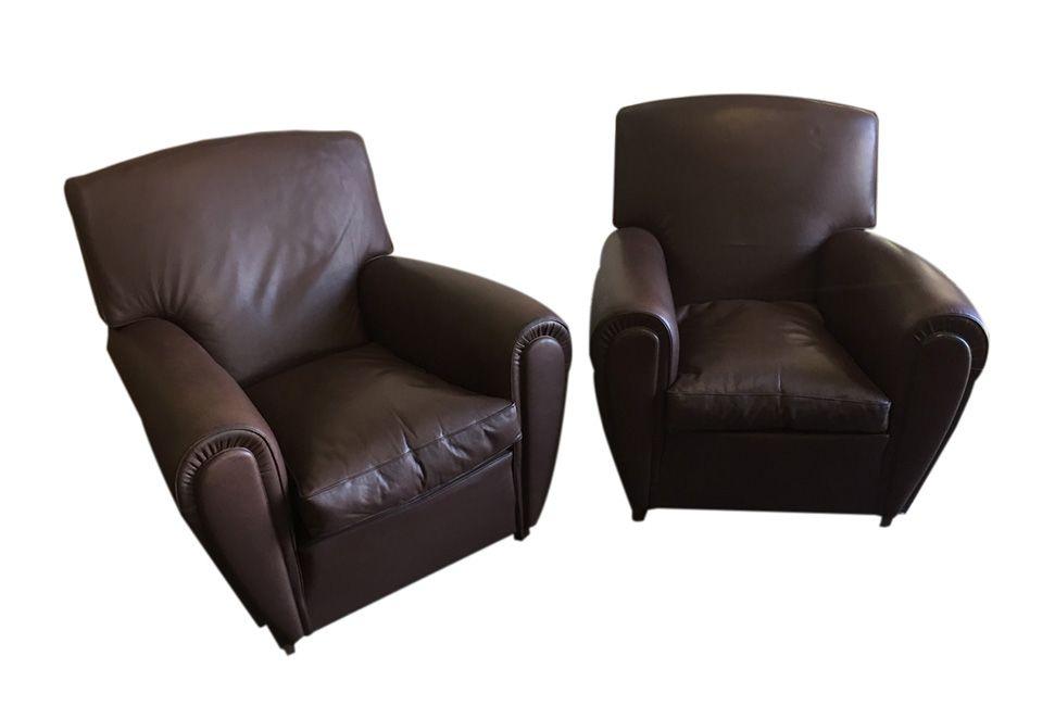 braune vintage sessel von poltrona frau 2er set bei pamono kaufen. Black Bedroom Furniture Sets. Home Design Ideas