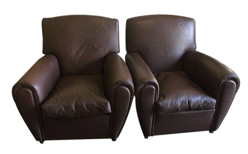 braune vintage sessel von poltrona frau 2er set bei. Black Bedroom Furniture Sets. Home Design Ideas